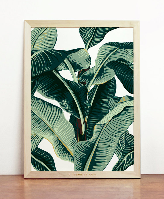 banana leaf tropical poster giftsy handmade